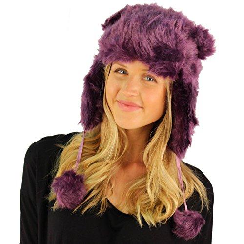 Winter Cute Ears Faux Fur Furry Trooper Trapper Pilot EarFlap Hat Ski Cap Purple