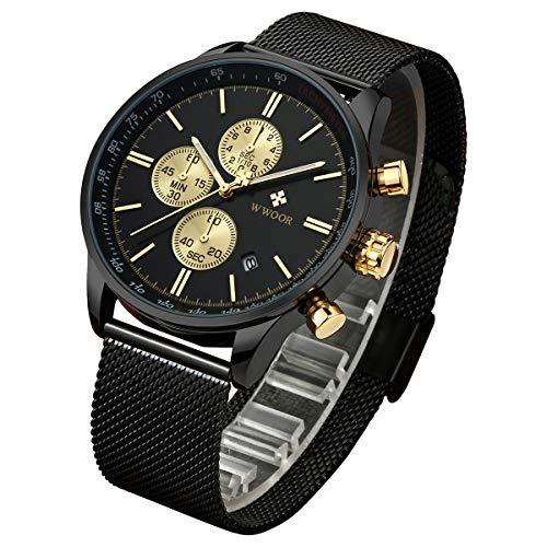WWOOR Uhr Herren Militär Wasserdicht Analog Quarz Armbanduhren mit Datum Schwarzem