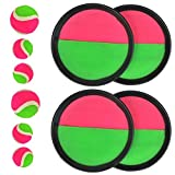 FOROREH Klettball Set Klettballspiel für Kinder, Neopren Klett Ball Catchball Spiel mit 4 Fangscheiben Ø 18,5cm, 2 Klettbällen Ø 6,5cm und 4 Klettbällen Ø 4,5cm für Kinderspiel