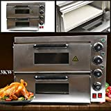 Electric Pizza Oven,3000W 110V Double Deck Fire Stone Commercial Pizza Oven,Stainless Steel Pizza Oven,Snack Oven Deluxe Pizza and Multipurpose Oven for Restaurant Home Snack Bars Pizza Oven