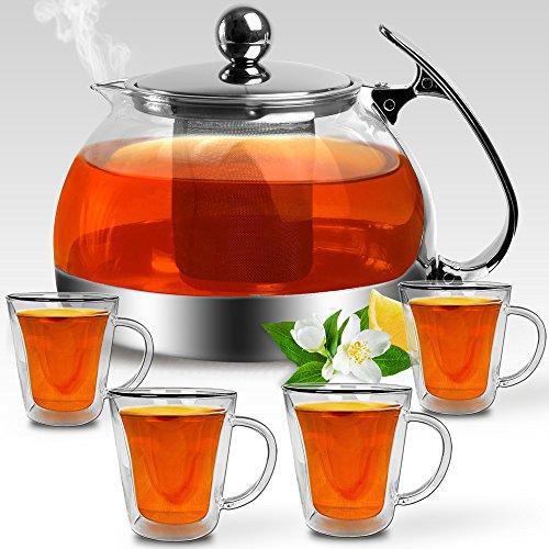 Deuba Set de 5 pièces Théière avec passoire à thé...