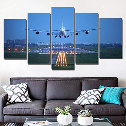 QWASD Avión, Cielo Azul Cuadro En Lienzo Equipo De 5 Piezas Material Tejido No Tejido Impresión Artística Imagen Decor Pared