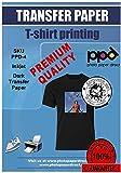 PPD Inkjet - A4 x 5 Hojas de Papel de Transferencia Térmica Premium para Camisetas y Tejidos Oscuros - Fácil de Usar y Apto para Todas Impresoras de Inyección de Tinta - PPD-4-5