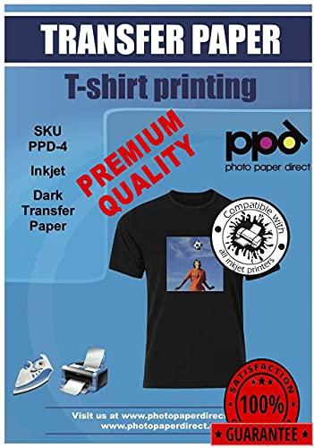 PPD 10 x A4 Blatt Inkjet PREMIUM T-Shirt Transferpapier für alle Tintenstrahldrucker - Speziell entwickelt für schwarze und dunkle Textilien (kein Spiegeln des Motives notwendig) und geeignet für Büge