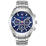 Bulova Men's 96B285 Quartz Chronograph Blue Dial Silver Tone 44mm Watch