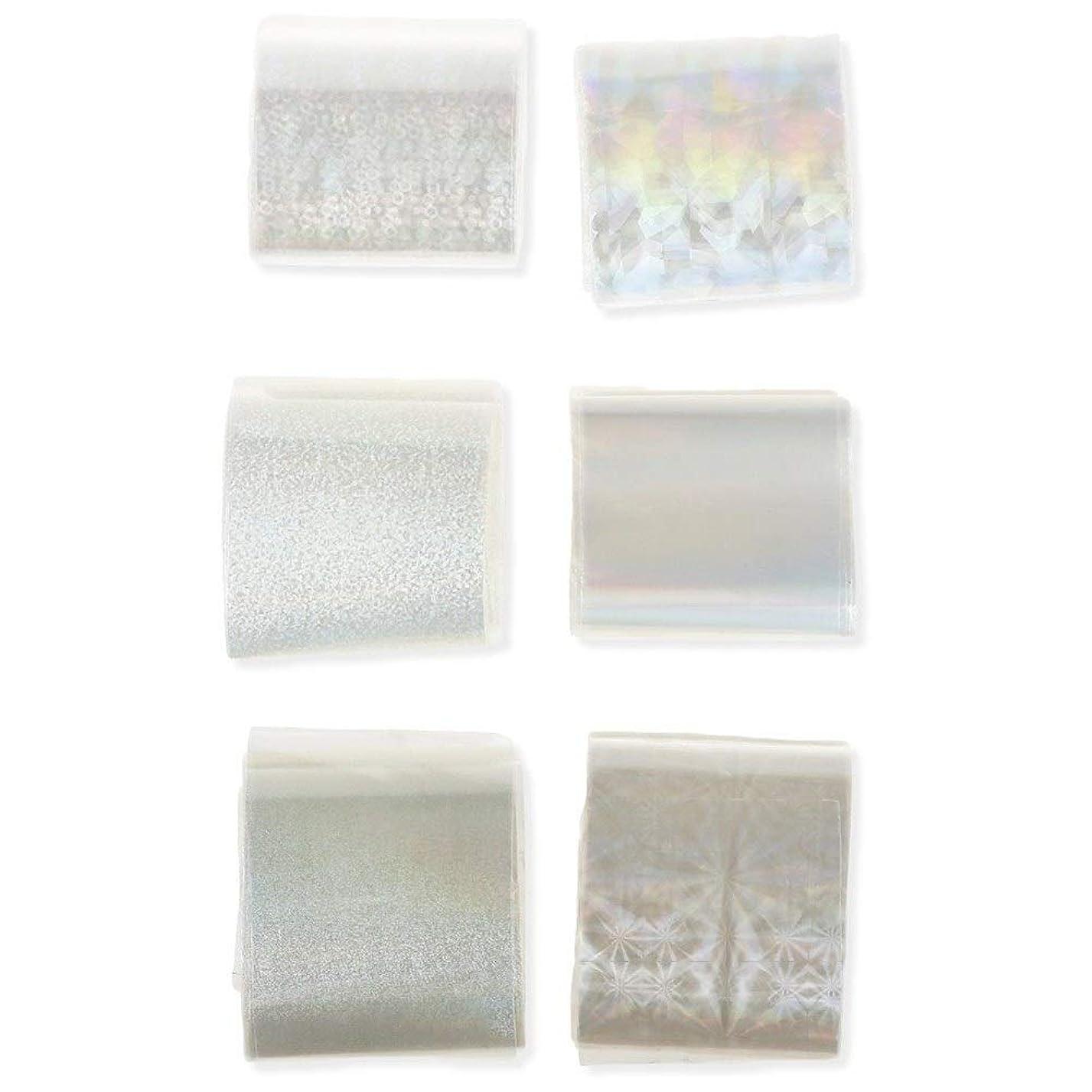 ネイルステッカー 透明 ネイル箔 キラキラ ネイルパーツ アート転写 ステッカーペーパー ネイル ヒントデコ レーション ネイル用品 マニキュアツール ネイルステッカー 6本