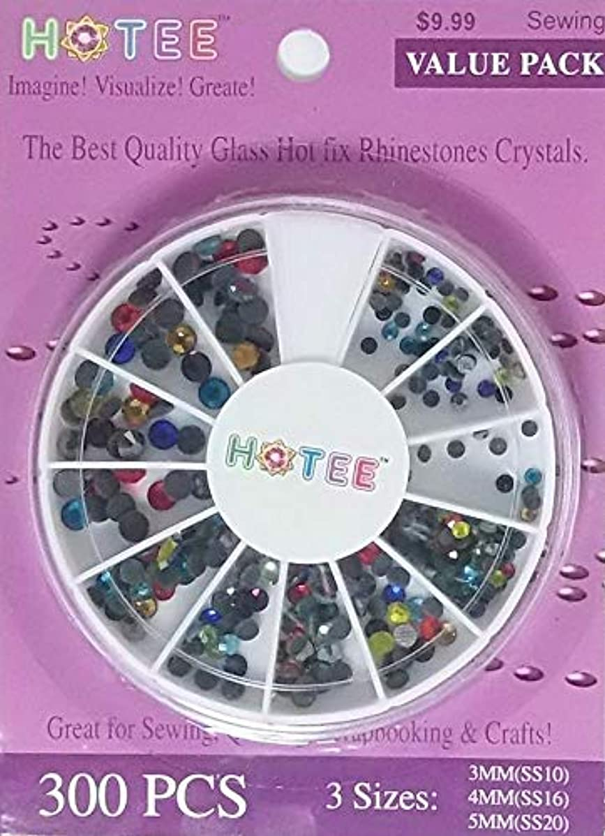 HOTEE Hotfix Rhinestones Glass Crystals- 3 Sizes Stones with Free Storage Case- Great for Quilting, Sewing, Scrapbooking, Renaissance Costumes & General Crafts- Value Pack 300 pcs- Multicolor