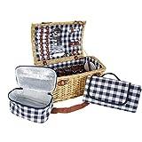 Mendler Picknickkorb-Set HWC-B23 für 6 Personen, Weiden-Korb Picknickdecke, Porzellan Glas Edelstahl, blau-weiß