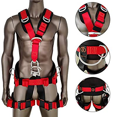 Weanas Professional Full Body Safety Climbing Harness Outdoor Rock Climbing Harness Half Body Harness Safe Seat Belts for Mountaineering Fire Rescuing Tree Climbing Rappelling (Black&Red)
