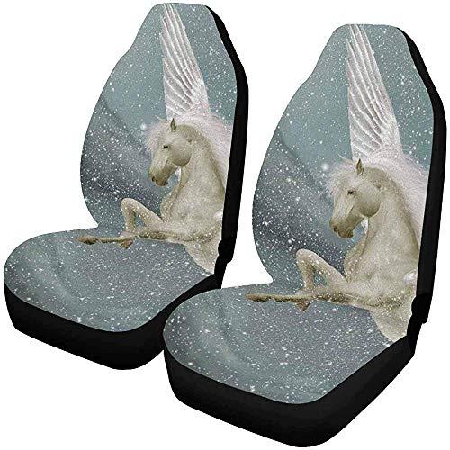 Drew Tours Pegasus in Winterlandschaft mit schneefesten Autositzbezügen 2er-Set, Universal passend für Fahrzeuge