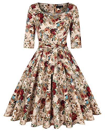 MINTLIMIT 50er Jahre Cocktailkleid Rockabilly Elegantes Faltenrock Festliches Vintage Kleid Abendkleider Knielang A-Line(Blumen Khaki,Größe L)