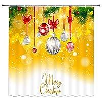 クリスマスボールは松の木の黄色に掛かる浴室の窓の装飾のための生地のホックが付いているポリエステル防水シャワー・カーテン60X72in