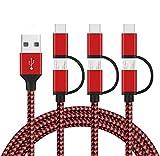 2 en 1 Multi Cable, GlobaLink Cable USB Tipo C y Micro USB, Carga&Sync Rápida Nylon Trenzado Compatible con Samsung Galaxy/Huawei/Nexus/LG/Sony/Google/Nexus/OnePlus/Lumia (3 Pack 1,5m) Rojo&Negro