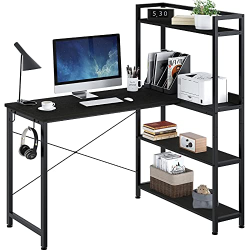 Rolanstar Computer Desk with Storage Shelves 47', Home Office Desk with 4-Tier Reversible Bookshelf, Modern Writing Table Workstation, Study Corner Desk for Small Space, Black