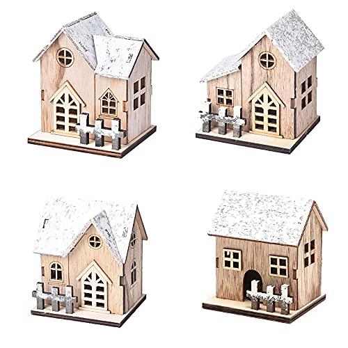 Kraeoke Deko-Weihnachtshaus 4pcs Weihnachten leuchtende Holzhaus, LED Weihnachtshaus Weihnachtsbeleuchtung DIY Holz Chalet Christbaumschmuck Weihnachtsdeko für Weihnachten Deko