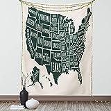 Lunarable Wandbehang mit USA-Motiv, Schwarz-Weiß-Stil, Karte der Vereinigten Staaten von Amerika geschriebenen Staatsnamen, Wandbehang, Tagesdecke, Wanddekoration, 172,7 x 223,5 cm, Anthrazit Ecru