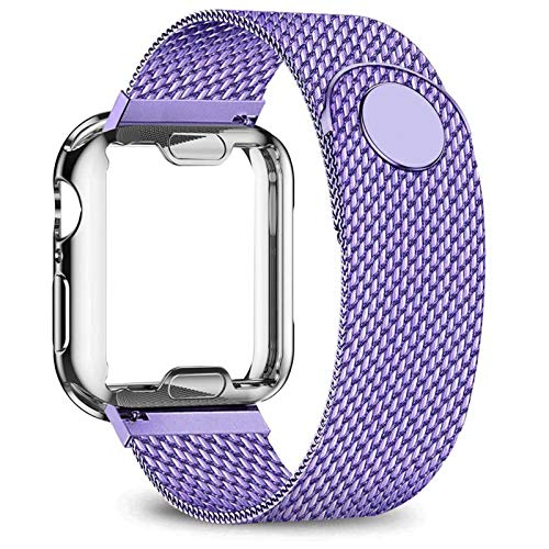 DAAGFC Carcasa + correa para Apple Watch de 40 mm, 44 mm, 38 mm, 42 mm, correa de metal de acero inoxidable serie 6, 5, 4, 3 2 se (color de la correa: lila, ancho de la correa: 40 mm, serie 5 4)
