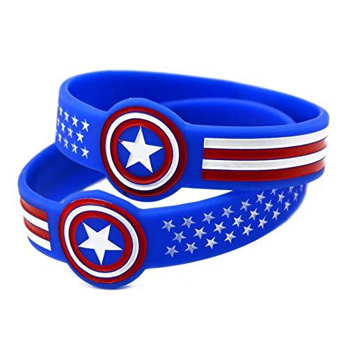 10 Unids Capitán América Héroe Pulsera Capitán América Pulsera De Silicona Pulsera Pulsera Perfectamente Inspire Fitness, Baloncesto, Sports Buscando, Ejercicio Y Tareas,Dark Blue