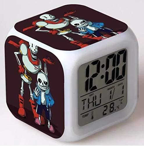 fdgdfgd El Legendario Reloj Despertador para niños de Dibujos Animados de Calavera LED Digital con termómetro Reloj Despertador con Fecha