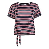 O'NEILL Camiseta de Manga Corta para Mujer, diseño de Rayas, Mujer, Camiseta, 1A7364, Rosa con Azul, Extra-Large