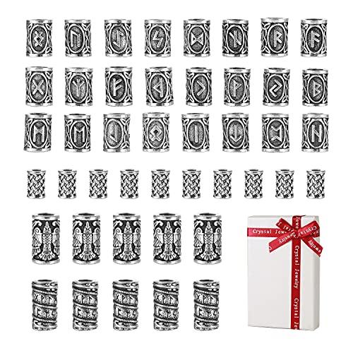 44 piezas cuentas de barba vikinga, cuentas plateadas para el cabello para clip, juego de runas antiguas colgantes de nudos rastas joyería kit de paracord,regalo para hombres trenzas pulsera trenzada