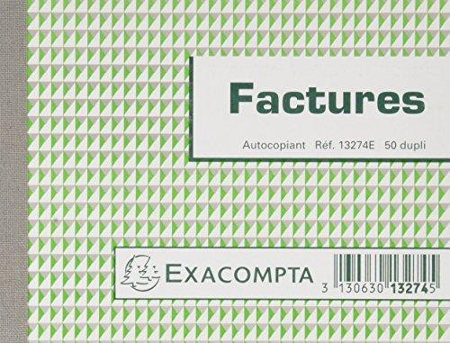 Exacompta 13274SE Paquet de 5 Manifolds Factures 10,5 x 13,5 cm 50 feuillets Dupli autocopiants