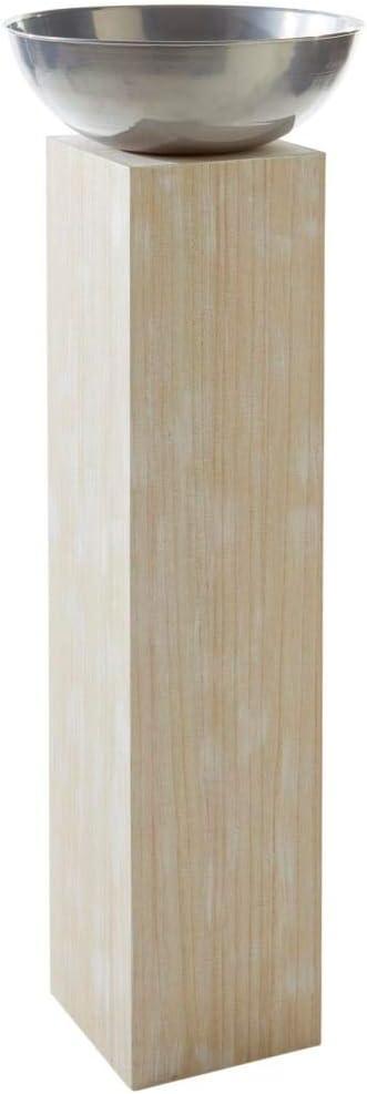 Holz schale säule mit Feuerschale auf