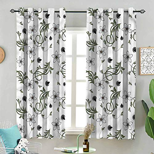Dasnh Modern Window Curtain Curvy Blooming Buds Petals W63 x L45 Inch (2 Panels) Indoor for Living Room