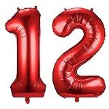 Siumir Globos de Numero Rojo Número 12 Grande Globos de Cumpleaños Papel de Aluminio Globos Decoración de Fiestas de Cumpleaños