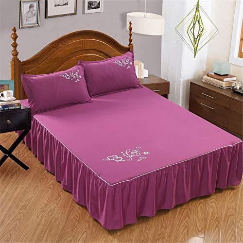 myonly Funda de cama de terciopelo suave color sólido, falda de cama de princesa engrosada faldón de cama, colcha sábanas, funda protectora para cama tamaño queen y king size