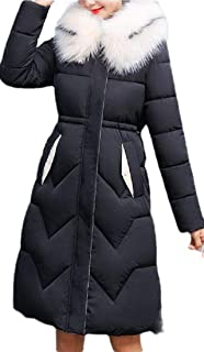 Womens Down Coat with Fur Hood Down Parka Mid Long Puffer Jacket