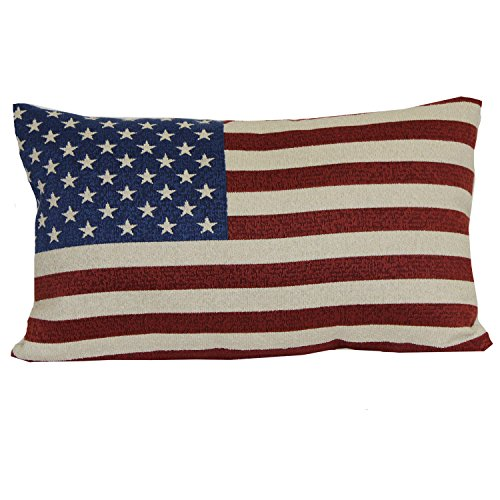 "Brentwood Originals 08415001 Indoor/Outdoor Pillow, 12"" x 20"", American Flag"