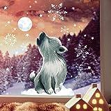 Wandtattoo Loft Fensterbild Weihnachten Wolf heulend Mond Schneeflocken Wiederverwendbare Fensteraufkleber Fensterdeko Kinder DIN A4