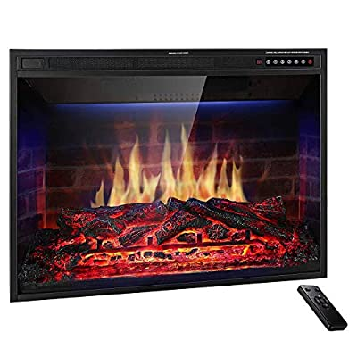 "JAMFLY 28'' Electric Fireplace Insert Narrow Border Design Freestanding Heater with Multicolor Flames, Touch Screen, Timer, and Remote Control, 1500w, Black (28"")"