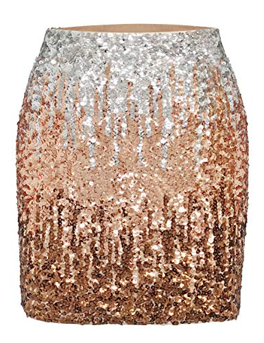 MANER Women's Sequin Skirt Sparkle Stretchy Bodycon Mini Skirts Night Out Party (XL/US 16-18, Silver/Rose Gold/Coffee)