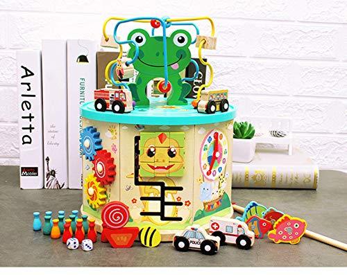 Cubo de Actividad de Madera Bead Maze 6 en 1 Juguetes educativos Multiusos, Juego de Juguete de Rana, Cubo de Actividad de Aprendizaje Divertido, números, Reloj de enseñanza, Juego de Juguete de Rana