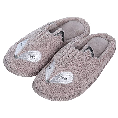 Cute Fox Slippers for Kids Girls Animal House Slippers with Memory Foam Indoor Slippers Winter Shoes, Pink Size 4.5-6