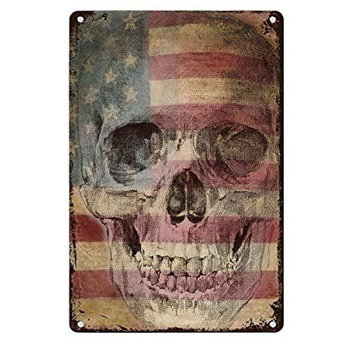 Tarfy Skull On Flag Retro Weinlese-Blechschild-Dekorations-Bar-Kaffee-Café-Nachmittagstee-Grill-Geschäft
