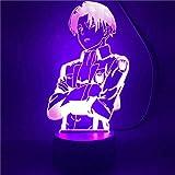 Attack On Titan 3D luce notturna per bambini 3D illusione lampada capitano Levi Ackerman A 16 colori dimmerabile con telecomando Smart Touch, regali di Natale e compleanno per ragazzi e bambini