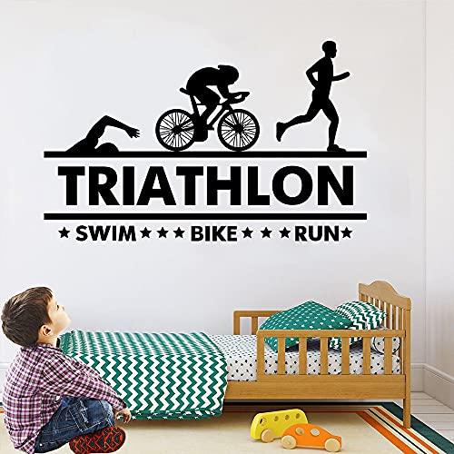 Decoración de pared removible de triatlón, Patrón deportivo de natación, bicicleta, carrera, juegos de pegatinas de pared para el dormitorio, la oficina y el gimnasio (123 x 76.2cm)