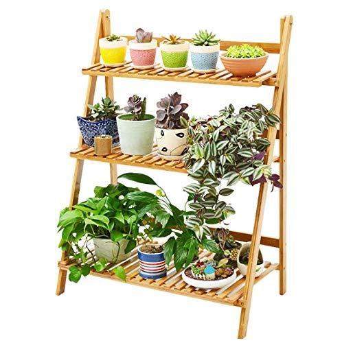 GOTOTOP Flower Pot Ladder Ladder Ladder Ladder Planter for Herbs and Plants Flower Rack Foldable 3 Shelves Vase Flower Holder Display Decorative Flower Pot Holder, 70 x 40 x 96 cm