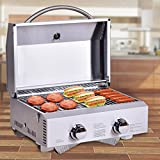 Happygrill Portable Gas Grill Stainless Steel Propane Grill Two-Burner Outdoor BBQ Grill with Foldable Leg for Camping Picnics, 20000 BTU