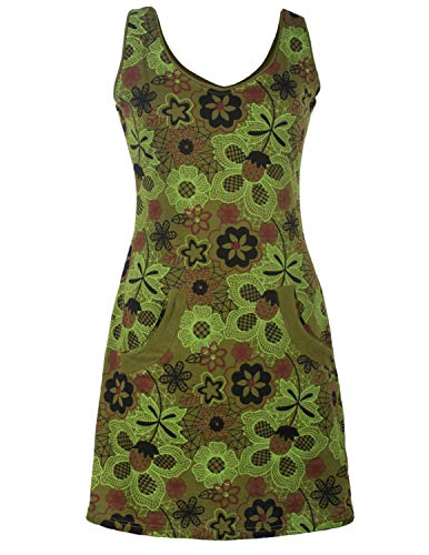 Vishes - Alternative Bekleidung - Ärmelloses Blumenkleid mit Taschen aus Baumwolle Bedruckt und Bestickt Olive 36-38