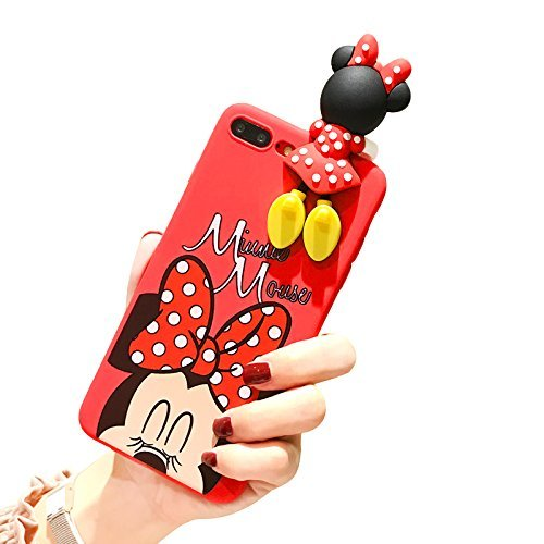 CASESOPHY Red Minnie Mouse with Doll Cover for iPhone 7plus 8plus Large Size 5.5 Screen Soft TPU Gel 3D Cartoon Slim Shockproof Protective Cool Fun Lovely Cute Fashion Hot Gift Girls Teens Kids