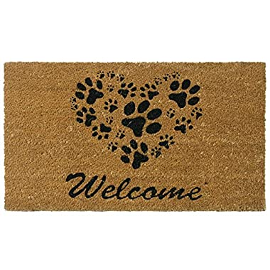Rubber-Cal  Heart-Shaped Paws Welcome Mat, 18 30-inch