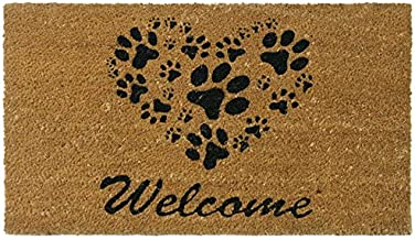 Rubber-Cal 10-106-062 Heart-Shaped Paws Welcome, 18 by 30-Inch, Brown Door Mat