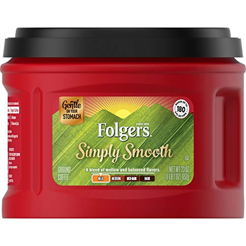 Folgers Simply Smooth Ground Coffee, Mild Roast, 23 Ounce (Pack of 6), Packaging May Vary