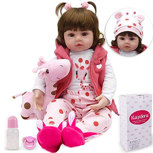 Kaydora Reborn Baby Doll Girl, 16 inch Soft Weighted Body, Cute Lifelike Handmade Silicone Doll