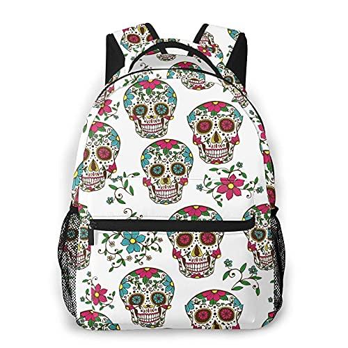 Bokueay Coloridas calaveras de azúcar con flores Mochila informal Mochila de ocio de moda Mochila adolescente Mochila de viaje con estampado