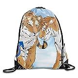 uykjuykj Bolsos De Gimnasio,Mochilas,Gym Sack Bag Drawstring Backpack Siberian Tiger Sport Bag for Men Women School Travel Backpack Siberian Tiger2 Lightweight Unique 17x14 IN